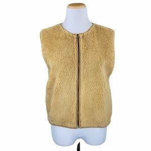 Banana Republic Camel Zip Up Teddy Bear Vest